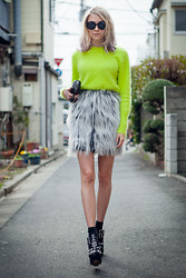 Martina M. - Anna Sui Fur Skirt, Acne Studios Angora Sweater, Urban Outfitters Studded Wedges - Tokyo Fashion Week Soldier.