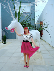 Lilly Pink - Unicorn, High Low Magenta Skirt, Black Bow Belt, Bow Print Top, Mint Flower, Pink Glitter Flats - The Last Unicorn