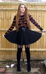 Chol Fable - H&M Metalic Animal Knitted Jumper, Zara Skater Skirt, New Look Suspender Tights - ANIMAL