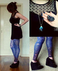 Joosje S - Romwe Galaxy Leggings, Six Iridescent Stone, Six Chunky Ring, H&M Starry Mesh Dress, New Look Studded Lace Up Wedges - Extraterrestrial Life.