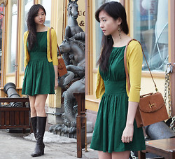 Sabrina Kwan - Fit & Flare Dress, Mustard Cardigan, Scalloped Bag - Green beer