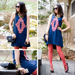 Fashion Infusion - Sugarlips Neon Embroidery Dress, Balenciaga Navy Sunnies, Diy Necklace - Neon embroidery dress