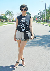 Yuka I. - Unif Tank, Zara Clutch, Ecote Beaded Shorts, Jeffrey Campbell Shoes - Suburbia