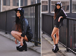 Kavita D - Boy London Cap, Sheinside Pu Leather Sleeve Top, Missguided Pu Leather Sport Shorts, Unif Black Hellbounds - London Bridge
