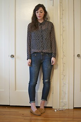 Kelly M. - Forever 21 Polka Dot Blouse, Gap Jeans, Crown Vintage Loafers - Dots and denim