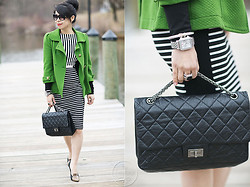 Melanie Y - Asos Striped Dress, Chanel Black Bag, Juicy Couture Green Jacket, Michelle Watch, David Yurman Bracelet, David Yurman Ring - Lucky Charm - Green & Stripes