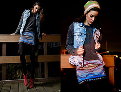 Daisy O - Zara Distressed Denim Vest, Zara Jewelled Sleeve Sweater, Zara Ethnic Print Embroidered Skirt, Wolford Black Tights, Zara Studded Red Booties - Midnight Blues