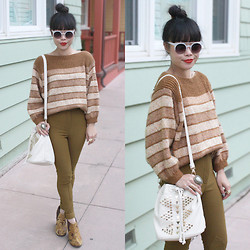 Toshiko S. - Jeffrey Campbell Clift In Tapestry, Zerouv Sunglasses, Jeffandlow Vintage Stripes Boat Neck Sweater, American Apparel High Waisted Riding Pants In Safari, Street Level Studded Bucket Bag - Horizontal Historical