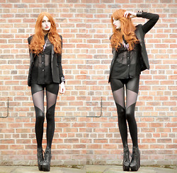 Olivia Emily - Blazer, Charity Shop Sheer Shirt, Black Milk Clothing Sheer Spartans, Jeffrey Campbell Fredas, Romwe Buckled Cuff - Sheer.