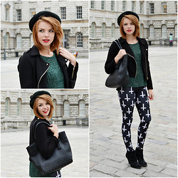 Halina Myers - Topshop Cat Ear Hat, Black Milk Clothing Cross Of St Peter, Topshop Jumper, Parfois Bag, Forever 21 Jacket, Zara Boots - 19/03/13 LONDON