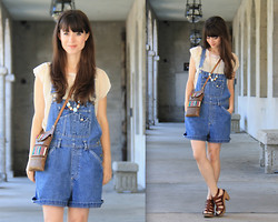 Lauren Winter - Vintage Denim Overalls, Vintage Cream Lace Blouse, Madewell Sunset Wood Sandals, Handmade Clay Bead Necklace, Thrift Store Vintage Leather Satchel - Saint augustine