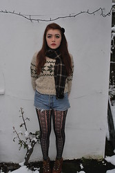 Ellie C - Vintage Kilo Sale Thrifted Jumper, Levi's® Levi Shorts, H&M Tights, Rokit Boots, Blitz Scarf - Retrograde