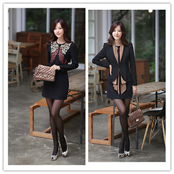 Ice Chang - Sz Black Printed Dress, 21 Forever Handbag, 红袖 Suit Coat - Every day is beautiful if you choose to see it