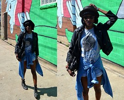 VintageVirgin Jessica - Levi's® Thrifted Levi's 501 Jean Shorts, Vintage Mj Tee, American Apparel Chambray Top, Kill City Widow Faux Leather Jacket, Vintage Lace Front Boots, Vintage Leather Backpack, Old Straw Fedora - MJ at SXSW