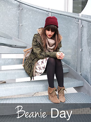 Vanessa P. - Zara Coat, Louis Vuitton Scarf, Zara Beanie, Louis Vuitton Bag, Pimkie Skirt, Zara Shoes - Beanie Day