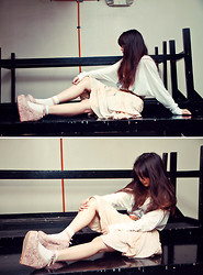 ▲▼ Asyluminica ▲▼ - Zara Oversized Top, Lemon Drops Belt, Thrifted Skirt, Sm Socks, Jcube Pink Wedges - ☁ Pastel Dream ✦