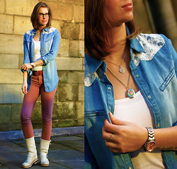 Emma SK - Orsay Denim Button Up, Primark Colored Jeans, Bullboxer White Boots, Kenneth Cole Two Tone Watch - The Beginnings Of Spring