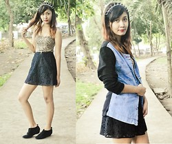 Kathleen Lira - Leopard Top, Lace Skirt, Peekaboo Denim Jacket, Kd Trends Spike Headband - Denim and Leopard