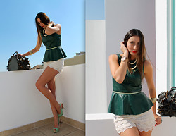 Mariana M. Chico - Bang Babg Tkf Handbag, Miss Black Book Leathe Peplum Top, Zara Mint Heels - Emerald leather top by Miss Black Book
