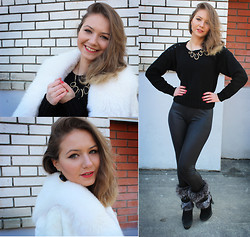 Viktoria Vyshnykova - Atuni Fur Coat, Handmade Sweater, Asos Leggings, Startys Boots - Black and White
