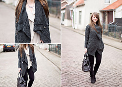 Samm ASCF - Sheinside Cardigan Coat, Scenario Blouse, Bershka Jeans, Topshop Shoes, Mimic Copenhagen Bag - Casual in black