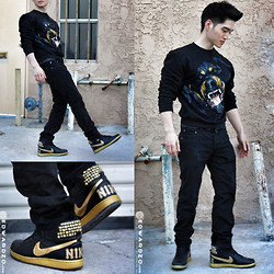 Edward Z. - Sold Out But Similar Here: Mr Friendly Sweater, Diesel Belt, Nike Gold Studded Kicks, Similar Here: Black Slim Fit Trousers - DoGMA: Gold Rush