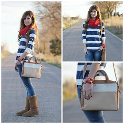 A TRENDY LIFE - Suiteblanco Pull, Str Foulard, Lacambra Bag, Ugg Boots - NAVY AND RED