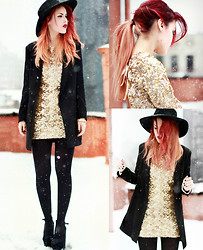 Lua P - Romwe Blazer, Dress, Jessica Buurman Shoes - In the Falling Snow.