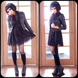 Heather H - H&M Lace Dress $34, H&M Jacket $59, Jeffrey Campbell Night Litas, Ardene Tights $8 - All Black Everything and more...