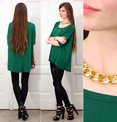 Ariadna M. - Sheinside Green Loose Blouse, Gold Chain Necklace, Frontrowshop Black Leggings With Faux Leather Panel, Asos Black Leather Heels - Green + Gold
