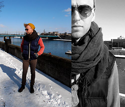 Luke Witek - Zara Beanie, Ray Ban Sunglasses, Zara Vest, Bershka Scarf, Pull & Bear Sweater, Pull & Bear Trousers, Pull & Bear Shoes - Love how you go your own way.