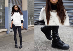 India Rose - Zara Leather Sweater, Zara Choker, Topshop Boots, H&M Leather Trousers, Market Hq Mesh Sweater, Nelly Clutch - FOOLING MYSELF