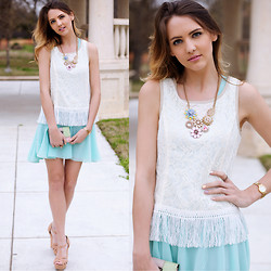 Madeline Becker - Sugarlips Fun Fringed Top, Windsor Pastel Necklace, Love Mint Dress Turned Skirt, Prada Pastel Block Wallet - Heart's Content