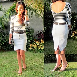 Lui Raymundo - Wagw Stripe Top, Wagw Skirt, Zara Belt, Zara Gold Flats, Cmg Snakeskin Clutch - The skirt <3!