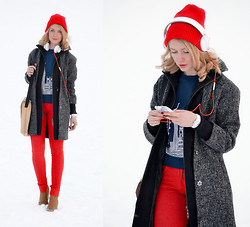 Anna Midday - Asos Coat, Asos Sweatshirt, Jabra Revo Stereo Headphones, Asos Beanie - Give me more color!!!