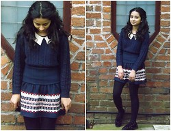 Rubab A - H&M Jumper, Pull & Bear Knitted Skirt, New Look Tights, Creepers - Winter relapse