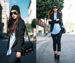 Jenny Ong - Theory Blazer, Theory Cropped Pants, Ray Ban Wayfarers, Proenza Schouler Ps11 - Channel blue