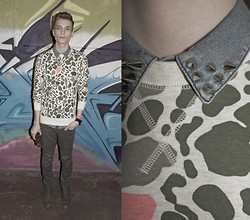 Andrew Eirich - Topman Studded Shirt, H&M Print Sweater, Zara Army Green Pants, Zara Leather Boots - Spray Art.