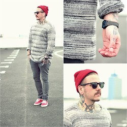 Chris Kross - H&M Knit, H&M Jeans, Obey Beanie, Vans Shoes, Ray Ban Sunglasses, Casio Watch - Red / grey