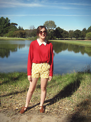 Verity A - Revival Retro Shorts, Vintage Jumper/Sweater, Rubi Shoes Sandles, Ebay Round Sunglasses - Saturday Morning Walk