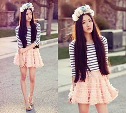 Jennifer Wang - Diy Flower Crown, Lucca Couture Striped Top, Chic Wish Ruffled Petticoat - MARIE ANTOINETTE