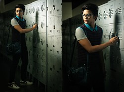 Robert James - Tommy Hilfiger Striped Vest, Blue And Gray Polo Shirt, Target Blue Dress Bag, Freego Skinny Jeans, Nike Sneakers, Thrift Shop Nerdy Glasses - Locker No. 44