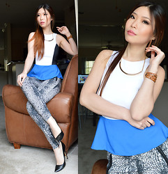 Cassandra Y. Liu - Express Top, Zara Plumage Print Trouser - Touch of Blue into Spring