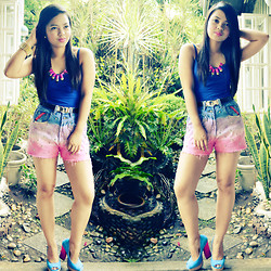 Rose Ann Bonaobra - Eye Candies Ombre Shorts, Primadonna Color Block Heels, Forever 21 Tank Top, Eye Candies Pink Spike Necklace, Eye Candies Gold Spike Cuff - Summer Lovin' with Ombre