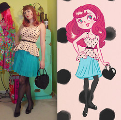 Lilly Pink - Baby The Stars Shine Bright Heart Shaped Purse, Polka Dot Peplum Top, Black Waist Cinch Belt, High Waisted Pleated Skirt, Black Scalloped Tights, Peep Toe Wedge, Fashion Illustration - Peplum Polka Dots