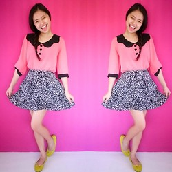 Lea Esguerra - Zara Animal Skin Design, Bazaar Pink Chiffon Top, Yellow Ballet Flats - Button Hearts