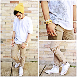 Shawn C. - Tory Burch Double Wrap Bracelet, Converse Chuck Taylor All Star, H&M Beanie - Pop of mustard.