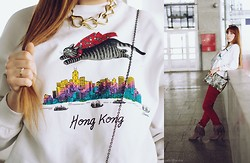 Aleksandra Malexandra - Second Hand Cat Blouse, Mom's Necklace, Yes Ring, Brylove Glasses, H&M Bracelet - Cat over the Hong Kong