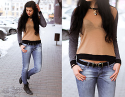 Vitaliya Nadezhdina - Mango Shirt, Armani Exchange Jeans, H&M Boots, Zara Knot Belt, Juicy Couture Chain - Sweet casualty
