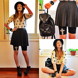 Chiara Monteleone - H&M Sweater, Bershka Skirt, Leggings With Studded Cross Made By Me, H&M Wedges, Primark Backpack - Black-White-Studs..